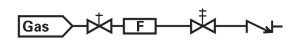 Schematic of a flow system with purge line.