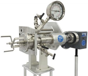 One liter horizontal reactor with heavy-duty stirring motor and double anchor stirrers.