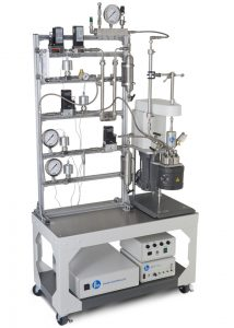 Continuous Flow Stirred Reactor on Cart w/modular frame for easy access & flex hook-ups, accessories & flow incl. interchangeable tubular reactor