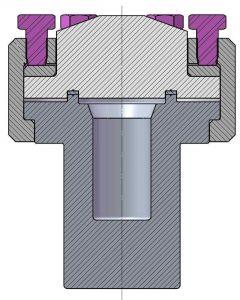 4790-25mL Querschnitt mit Flachdichtung