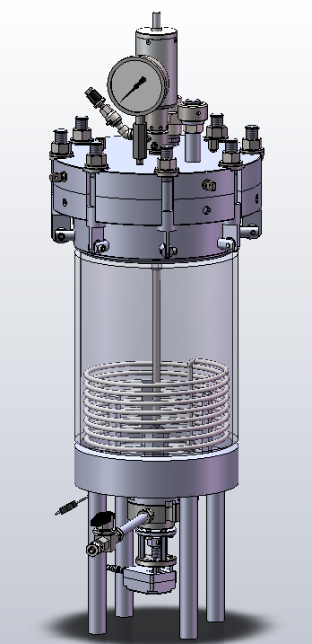Exterior View of 50 Liter Vessel with manual bottom drain valve. (Cylinder transparent for clarity)