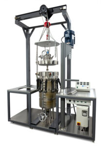 100 L Stirred Reactor System with head assembly lifted