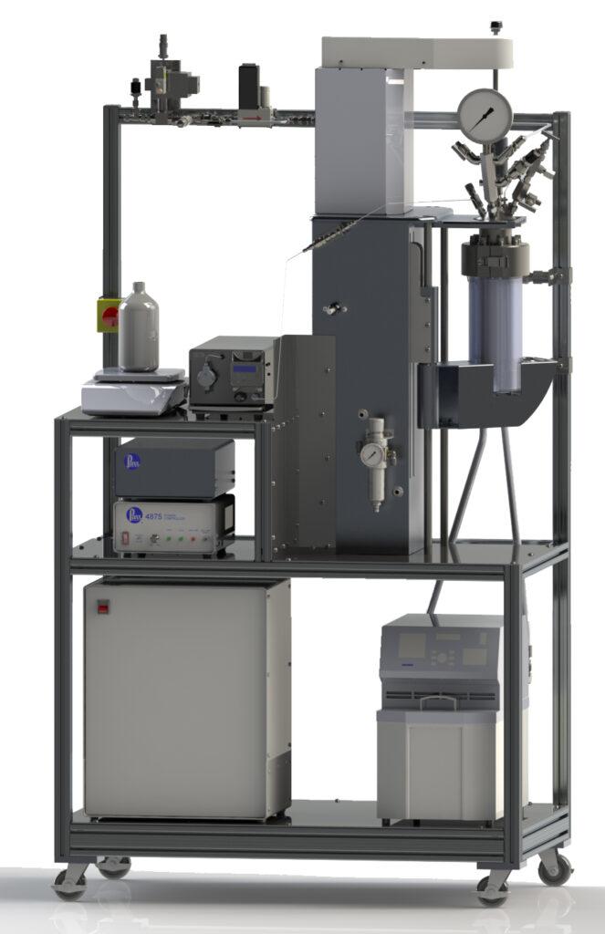 Parr 4540, 1,2 L Reaktor, mit H2 und Flüssigkeitszuführungen, ausgestattet für Leistungskompensationskalorimetrie.