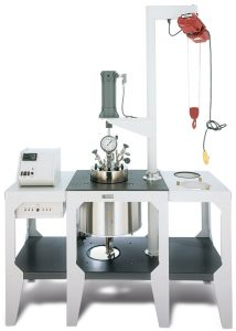 4556 Table Floor Stand Reactor, 10 Liter Moveable Vessel, Electric Hoist, w/4848 Controller; Optional Expansion Modules