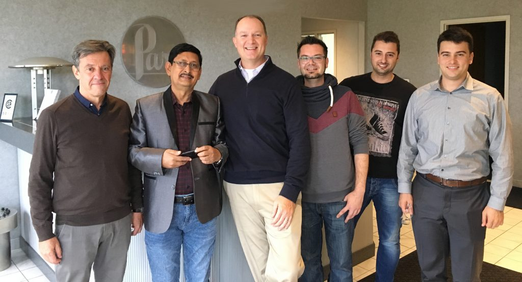 Pictured from left to right: Pierre Graziani with Equilabo S.A.S., Farid Ali David with MAKS Trading Limited, Tim Lehman with Parr Instrument Company USA, Wojciech Ostapkowicz with Parr Instrument (Deutschland) GmbH, George Gonatas & Ioannis-Hector Haloulos both with Alfa Analytical Instruments
