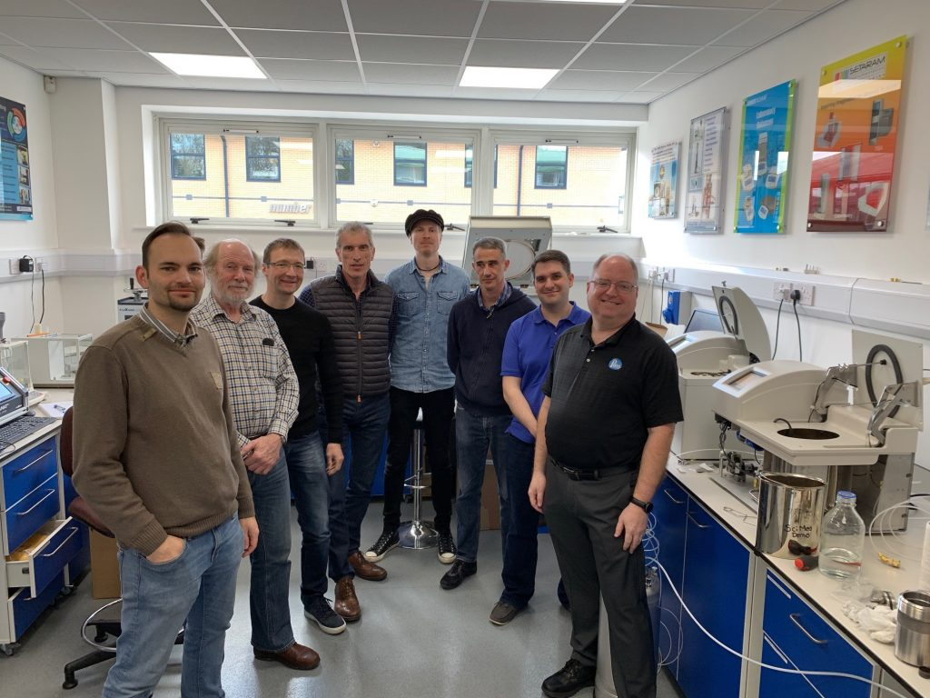 Pictured from left to right: Koen Meganck with Analis sa/nv (Belgium), Glenn Harnden with SciMed (UK), Sebastien Foriel with Equilabo (France), Stefano Giovanelli with FKV Srl (Italy), Marcus Karhula with G.W. Berg (Finland), Nicolas Micoud with Equilabo (France), Gareth Llewllyn-Samuel with SciMed (UK), Steve Lierly with Parr Instrument Company (USA), and Richard Ellison SciMed (UK) [not pictured]