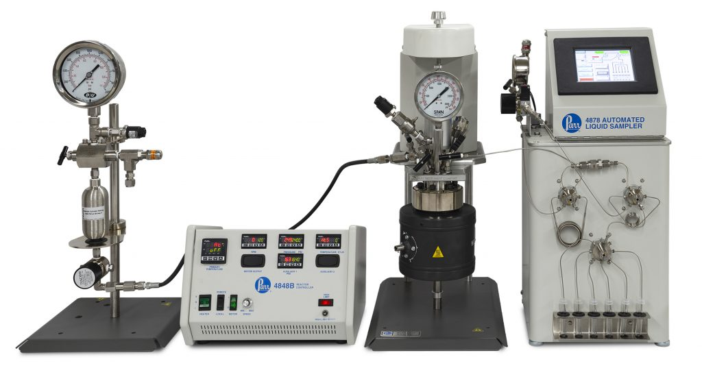 2280 Burette, 4566 Reactor with 4848 Controller, and 4878 Automated Liquid Sampler