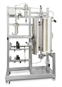 Fluidized Bed Reactor with 3-Zone Ceramic Heater, cyclone separator, cooling condenser, and product receiver.