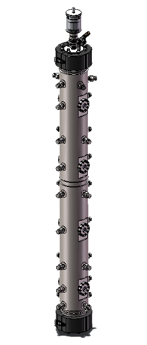 """Elongated 4554 20L Stirred Bioreactor with four pairs of 1"""" integral sapphire window assemblies"""